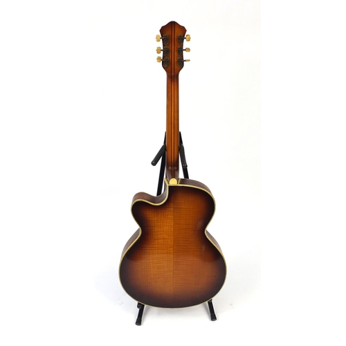 159 - Vintage Hofner President acoustic guitar, with Mother of Pearl floral inlay, paper label and numbere...