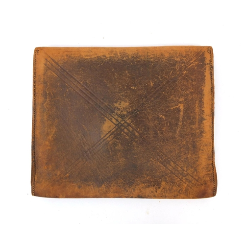 157 - 19th century leather pouch used for collecting money, the clasp engraved 'Leeds and Meanwood Turnpik...