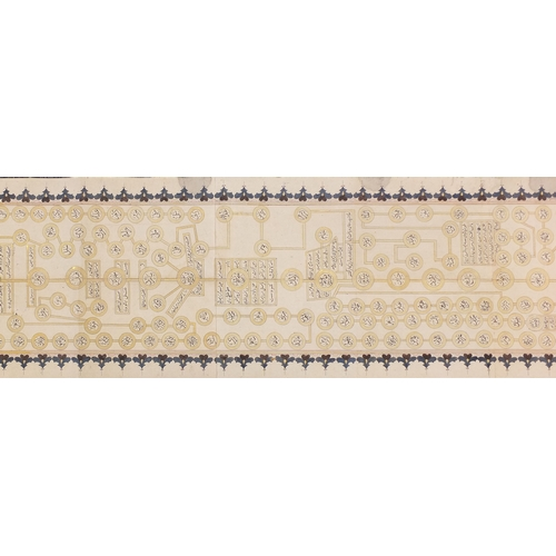 331 - Well detailed hand painted Islamic Koran scroll manuscript, approximately 690cm x 32cm...