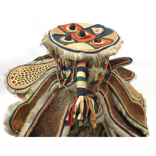 330 - Tribal interest African devil ceremonial headrest, (PROVENANCE: Brought back from Sierra Leone in th...