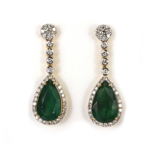742 - Pair of 18ct gold tear drop emerald and diamond  earrings, approximately 3.6cm long, approximate wei...