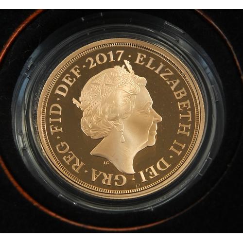 249a - Boxed The Sovereign 2017 five coin gold proof set by The Royal Mint, limited edition 255 of 750 with...