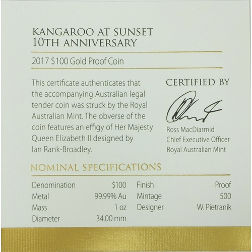 249b - Boxed Kangaroo at sunset $100 gold proof coin, commemorating the 10th anniversary, 1oz special editi...