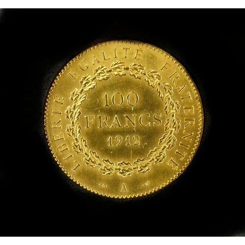 249c - Boxed French 100 Frances gold coin, of Guardian Angel design with CAO, approximate weight 32.26g...