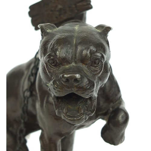 1 - Charles Valton bronze study of an angry Bull Mastiff chained to a post 'Go to Sea', signed, 27cm hig...