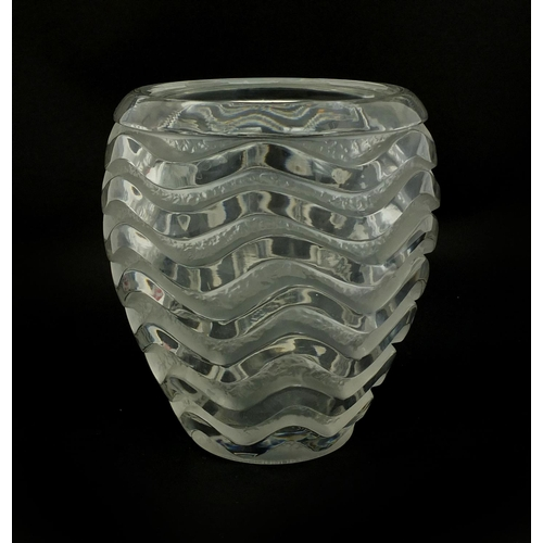 583 - Rene Lalique Meandres pattern vase, of ovoid form with wavey line motifs, etched 'R Lalique France' ...