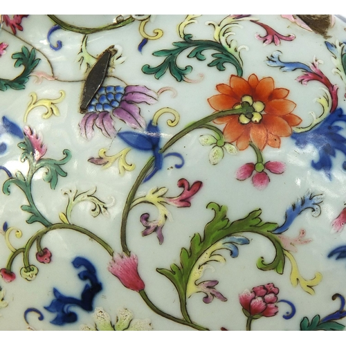 355 - Chinese porcelain moonflask profusely hand painted in the famille rose palette, with peony and lotus...