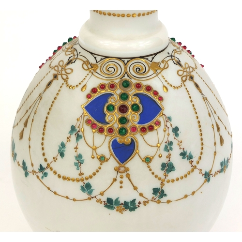 580 - Victorian white opaline glass vase with Persian influence, hand painted and jewelled with flowers an...