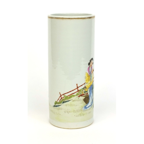 361 - Chinese porcelain cylindrical vase, hand painted in the famille rose palette with robed figures in a...