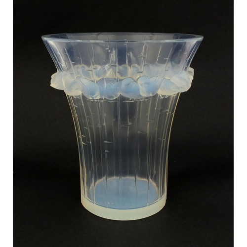 582 - Rene Lalique Boulouris pattern opalescent glass vase, moulded with a continuous band of birds, etche...