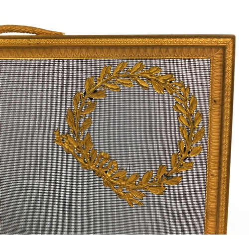 633 - 19th century French Ormolu fire screen by Bouhon Freres, with serpent carrying handle, the finely de...