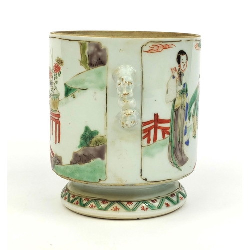 365 - Chinese porcelain twin handled cup, hand painted in the famille verte palette with figures in a cour...