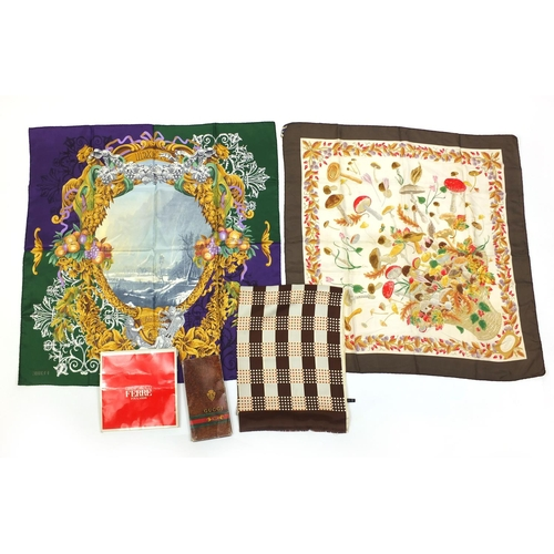 49 - Group of three vintage silk scarves including a Gucci example decorated with mushrooms and a Gianfra...