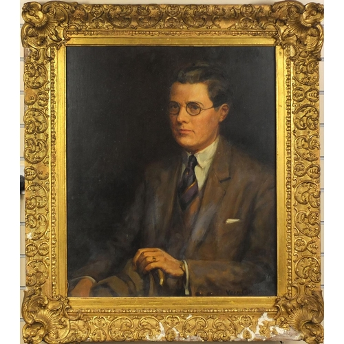 924 - Vera Colborne - Oil onto canvas portrait of a gentleman wearing spectacles, ornately gilt framed, 74...