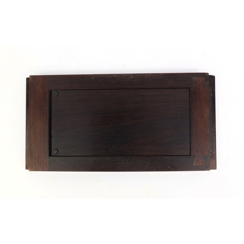 21 - Victorian Tunbridge ware extending book slide, one end inlaid with tumbling blocks the other with a ...