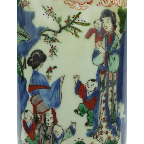 356 - Large Chinese porcelain Gu-shaped beaker vase, hand painted in the Wucai palette with court figures ...