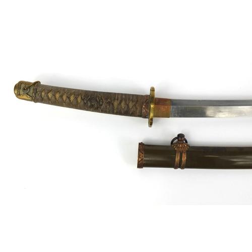 498 - Japanese Samurai sword and scabbard with bronze tsuba, the shragreen grip with floral menuki, 100cm ...