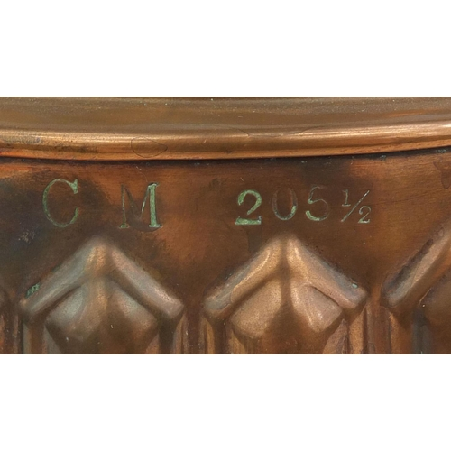 36 - Victorian copper jelly mould initialled C M, impressed marks, 11.5cm high...
