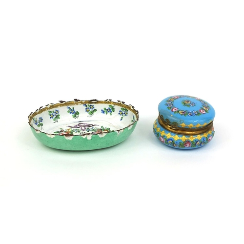 39 - Continental enamelled pill box decorated with flowers together with an enamelled pin dish, inscribed...