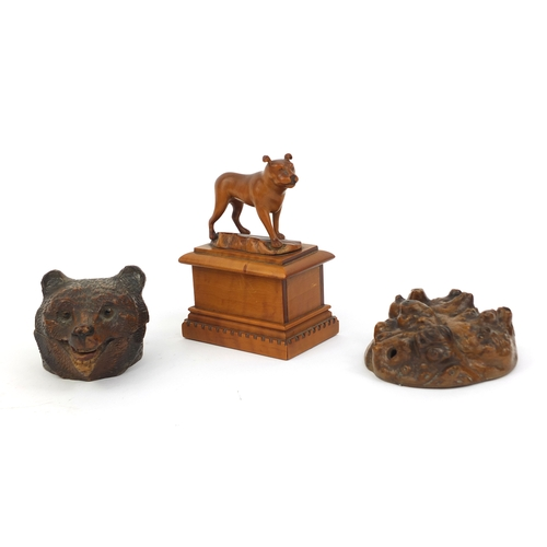 22 - Group of treen including black forest bears head stamp box and a carved yew wood study of a mastiff,...