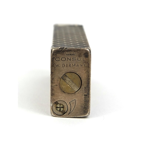 52 - Consul West Germany sterling 925 silver lighter with engine turned decoration, factory marks to the ...