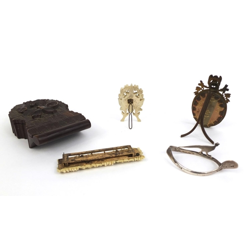 45 - Group of objects including a silver napkin ring in the form of a pheasant mounted on a wishbone, a c...