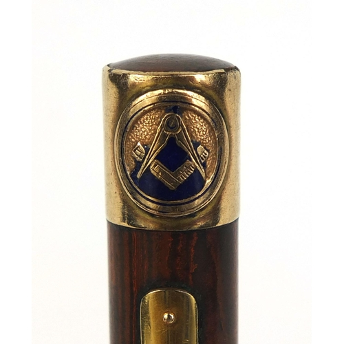 58 - Masonic interest Waterman's ideal brown ripple fountain pen, with 9ct gold and enamelled Masonic ban...