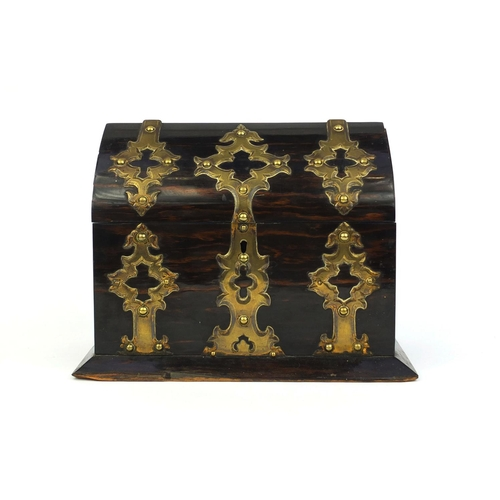 17 - Victorian Coromandel stationery box, with hinged lid and applied brass studded decoration, 20cm high...