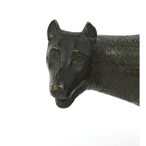 9 - Bronze study of Capitoline the She-Wolf with Romulus and Remus, 14cm high