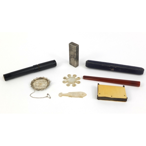 44 - Group of miscellaneous objects comprising a Dunhill lighter with engine turned decoration, Victorian...