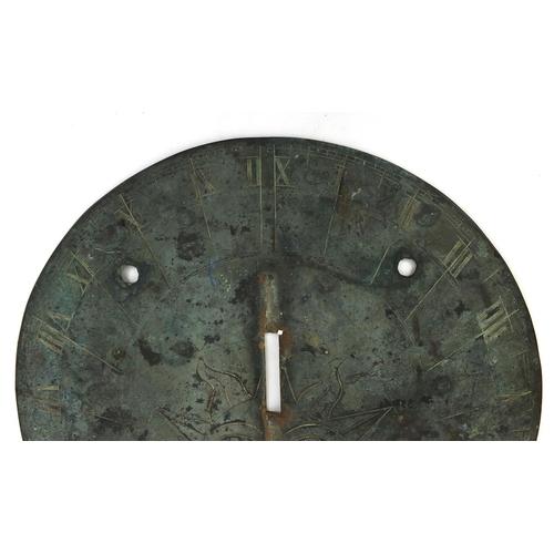 32 - ** DESCRIPTION AMENDED 3/3 ** 18th century bronze sundial plate 'Swift Runs Ye Tyme' dated 1705, 25....