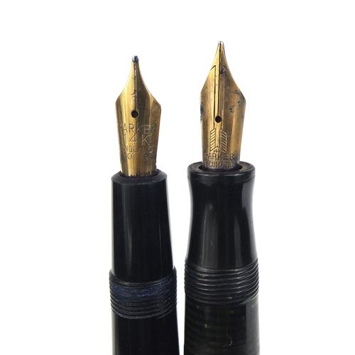59 - Group of seven vintage Parker fountain pens including three vacumatics, slimfold, televisor junior a...