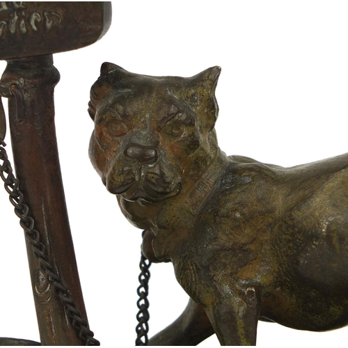 2 - Bronze study of a Mastiff chained to a post 'Parlez Au Portier', 12cm high