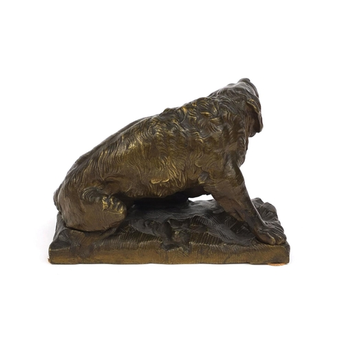 3 - 19th century Bronze study of a bronze Newfoundland dog, after Sir Edwin Landseer, 14cm high...