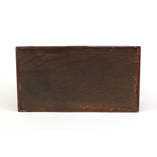 19 - Georgian mahogany three sectional box, with hinged lid and brass fittings, 14cm high x 24.5cm wide x...