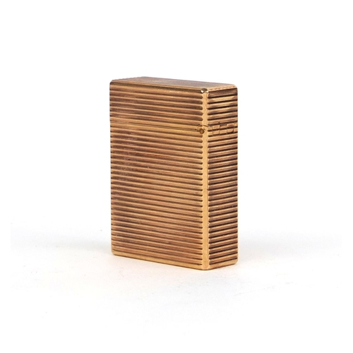 53 - Boxed Dupont gold plated lighter with engine turned decoration, factory marks to the base, 4.7cm hig...