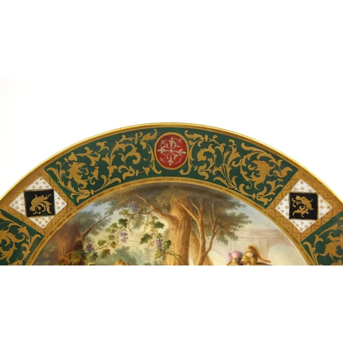 552 - 19th century Meissen porcelain cabinet plate hand painted with lovers, Rinaldo and Armida within a g...