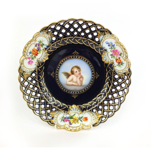 553 - Meissen porcelain cabinet plate hand painted with a cupid within a gilt, pierced and floral boarder ...