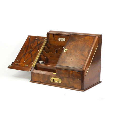 16 - Victorian walnut stationery box with day date calendar, letter rack, inkwells and brass fittings, 33...