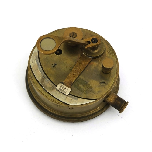 28 - Brass pocket sextant with silvered arch and extending sighting tube, 8cm in diameter...