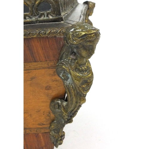 18 - 19th century French inlaid Kingwood and birds eye maple table wine cooler with liner, the ormolu mou...