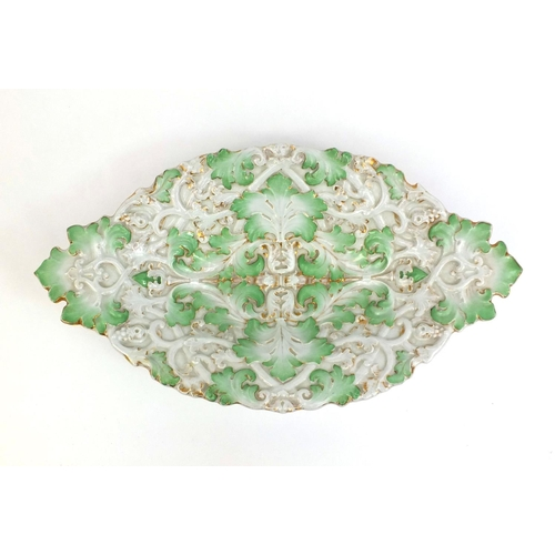 551 - Meissen porcelain dish, hand painted gilded and embossed with leaves, crossed sword marks, 41cm wide...