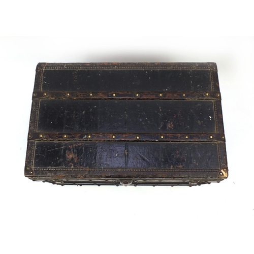 15 - 19th century Louis Vuitton leather bound wooden travelling trunk with carrying handles, 41cm high x ...