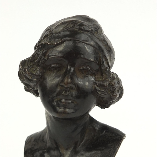 6 - Bronze bust of Clare Sheridan (first niece of Sir Winston Churchill) dated 1919, raised on a square ...