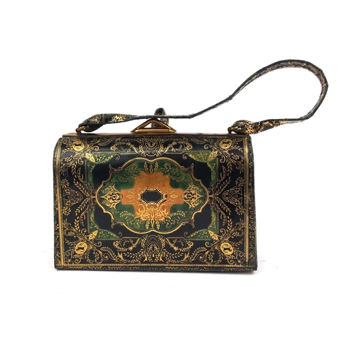 47 - Vintage tooled leather ladies evening bag with floral decoration, 17cm wide...