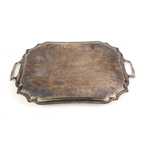 649 - Large silver two handled tray, engraved with presentation inscription F.G McKim, ESQ as a token of a...