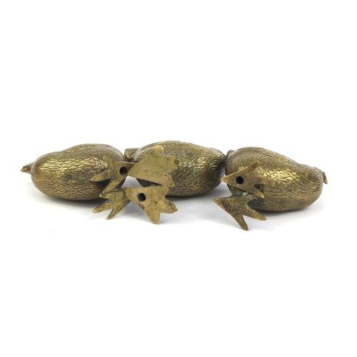 13 - Victorian brass three piece cruet set, each in the form of a chicken, one with impressed lozenge mar...