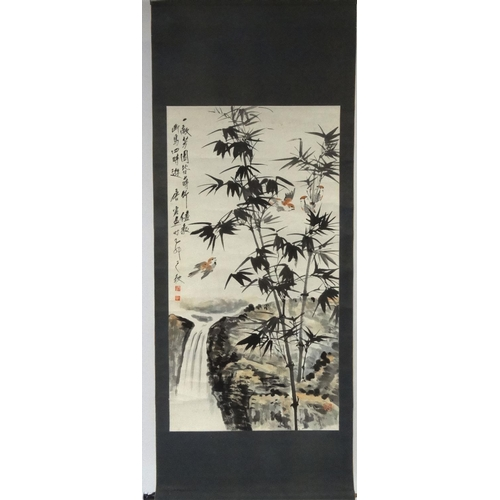 486 - Attributed to Yun Tang Chinese ink and watercolour onto paper scroll, bamboo and birds before a wate...