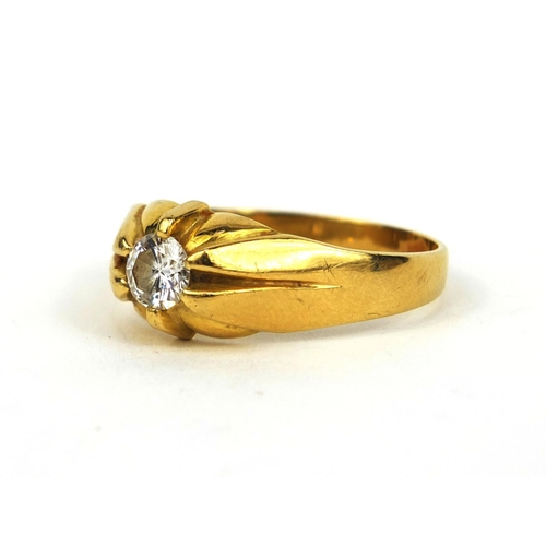 925 - 18ct gold gentleman's diamond solitaire ring, size Z+, approximate weight 9.6g...