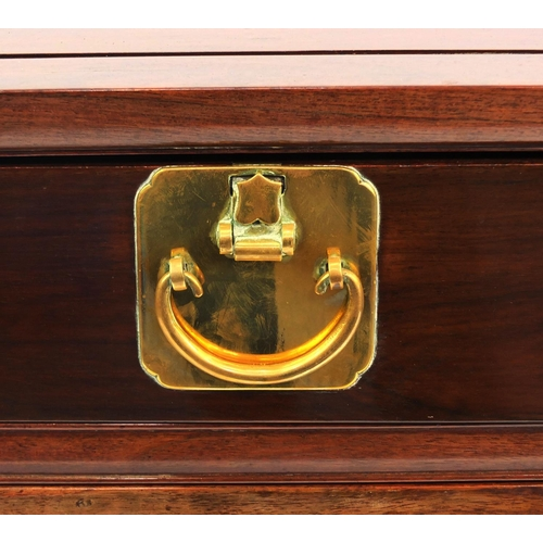 2001 - Chinese rosewood side table with good quality  brass fittings, fitted with two drawers above a pair ...